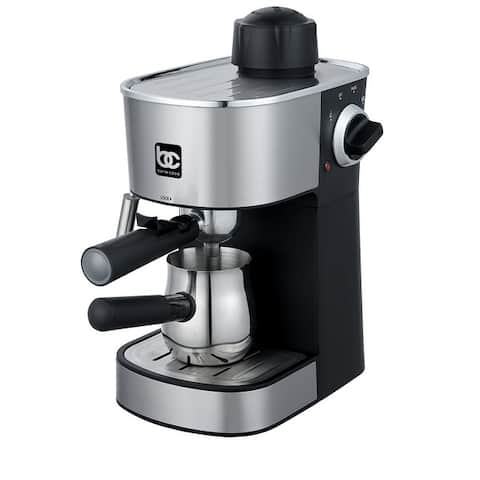 Bene Casa 4-cup stainless-steel espresso maker with steam frother function, cappuccino maker, - 4-Cup Steam Espresso