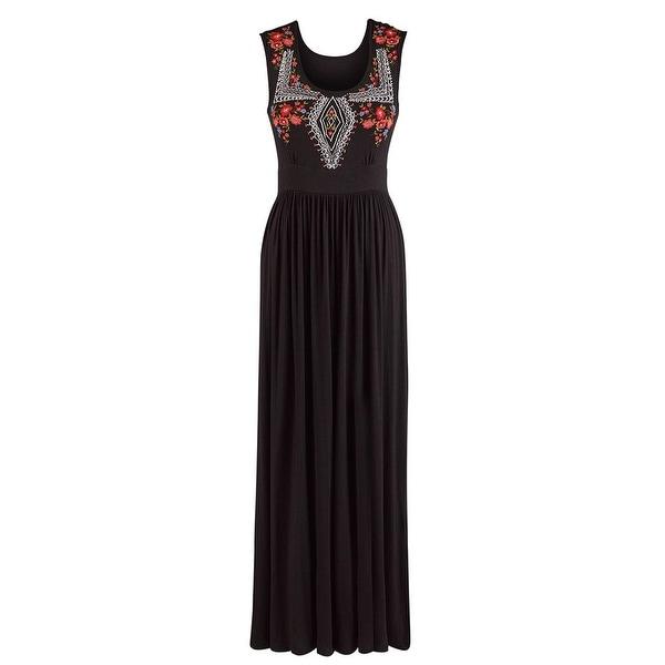 Women's Maxi Dress - Avie Embroidered Black Sleeveless Dress