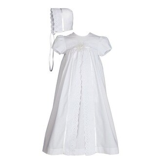 Baby Girls White Cotton Split Panel Embroidery Bonnet Christening Dress Gown