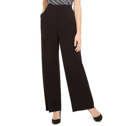 Anne Klein Women's Dress Pants Black Size 4X32 Wide Leg Trouser Stretch