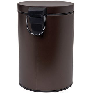 Homebasix LYP0701 Round Trash Can With Step Pedal, Venetian Bronze, 1.85 Gal