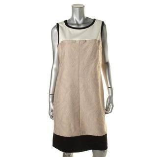 Tahari ASL Womens Jeremy Textured Contrast Trim Wear to Work Dress