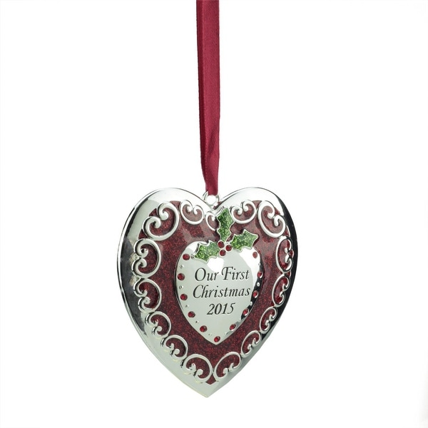 "3.25"" Regal Silver and Red ""Our First Christmas 2015"" Heart Ornament w/ European Crystals"