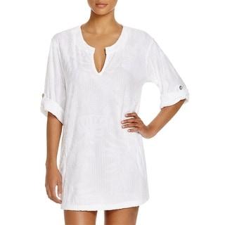 J Valdi Womens Tunic Top Textured Long Sleeves