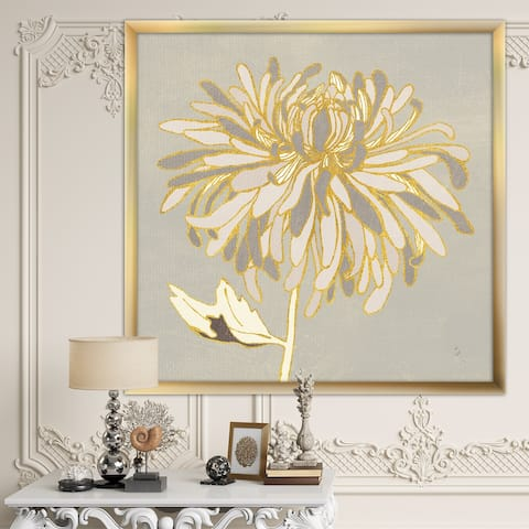 Designart 'Gold Metallic Floral Garden I' Modern Glam Framed Art Print