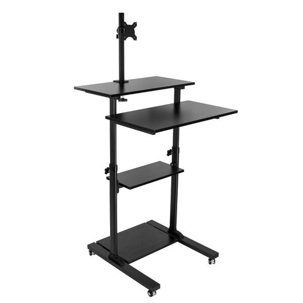 shop mount it mobile stand up desk height adjustable computer work station rolling. Black Bedroom Furniture Sets. Home Design Ideas