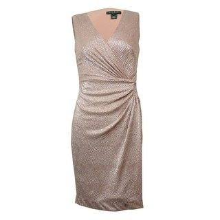 Lauren Ralph Lauren Women's Metallic Surplice V-Neck Dress - Pink/Silver