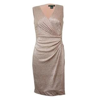Lauren Ralph Lauren Women's Metallic Surplice V-Neck Dress - Pink/Silver
