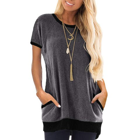 Haute Edition Short Sleeve Casual Pocket Short Sleeve Sweatshirt