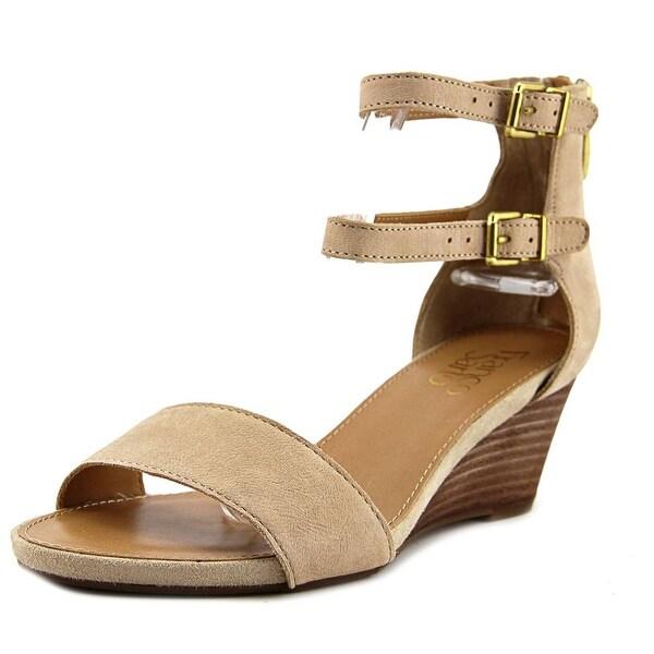 Franco Sarto Dade Women Open Toe Leather Ivory Wedge Sandal