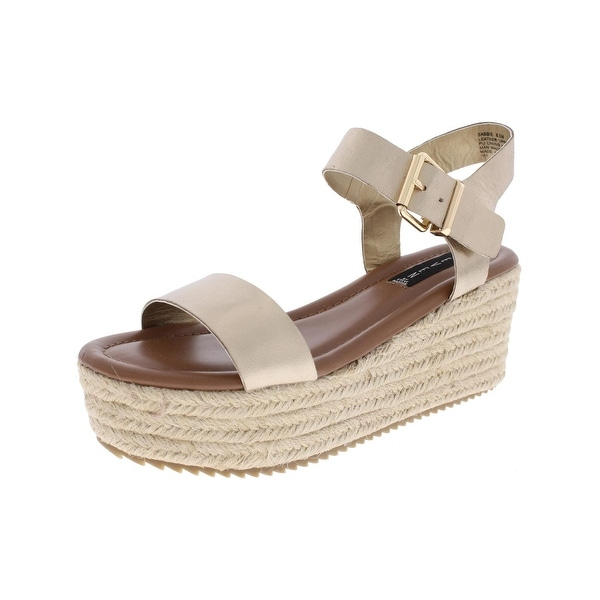 Steven By Steve Madden Womens Sabbie Wedge Sandals Leather Open Toe