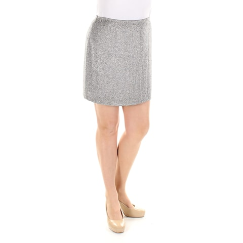 RALPH LAUREN Womens Gray Beaded Above The Knee Pencil Party Skirt Size: 12