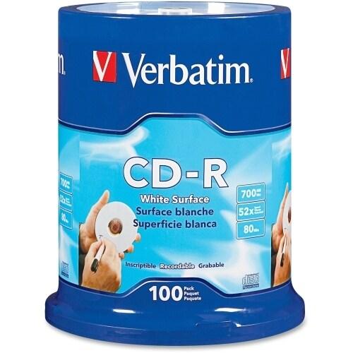 Verbatim 94712 Verbatim CD-R 700MB 52X with Blank White Surface - 100pk Spindle