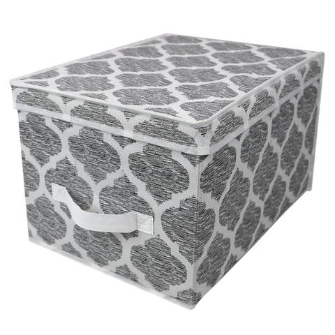 Arabesque Large Non-Woven Storage Box with Label Window, Grey