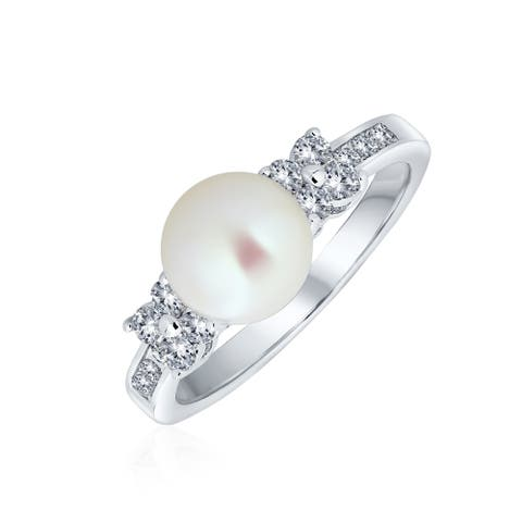 CZ White Imitation Pearl Solitaire Engagement Ring Silver Plated Brass