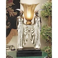 Design Toscano  Art Deco Peacock Maidens Illuminated Statue