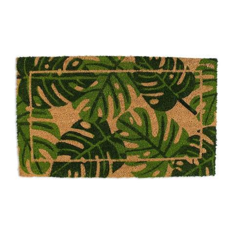 """J&M Palm Leaves Vinyl Back Coir Doormat 18x30 - 18x30"""""""