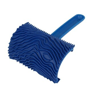 "MS17 4"" Wooden Wall Plastic Handle Rubber Wood Graining DIY Tool Blue"