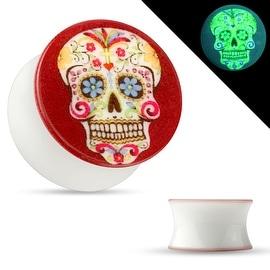 Sugar Skull Print Glow in the Dark Double Flared Acrylic Saddle Plug (Sold Individually)
