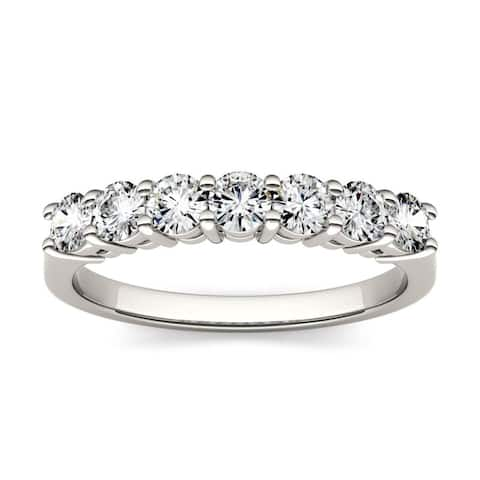 Moissanite by Charles & Colvard 14k Gold 0.70 TGW Round 7-Stone Wedding Band