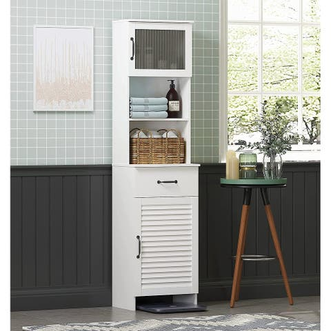 Spirich Freestanding Slim Cabinet with Top Bottom Enclosed Cabinet Whtie