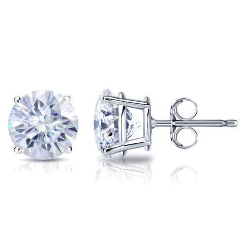 Auriya Platinum 2ctw Round Moissanite Stud Earrings - 6.5 mm