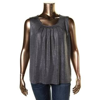 Kasper Womens Casual Top Metallic Pleated - xL|https://ak1.ostkcdn.com/images/products/is/images/direct/53181acd25944d3aa113fb25e8b33325fe44804d/Kasper-Womens-Casual-Top-Metallic-Pleated.jpg?impolicy=medium