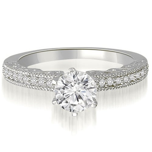 0.70 cttw. 14K White Gold Antique Milgrain Round Diamond Engagement Ring