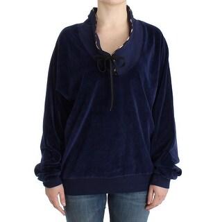 Cavalli Dark blue velvet cotton sweater - it48-xxl