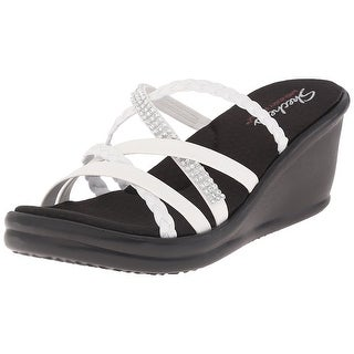 Skechers Cali Women's Rumblers Wild Child Wedge Sandal, White Rhinestone - white rhinestone