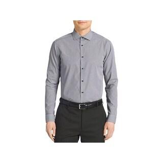 Calvin Klein Mens Button-Down Shirt Slim-Fit Micro Check