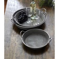 "Pack of 6 Gray Galvanized Round Metal Decorative Serving Trays 14""-19.75"""
