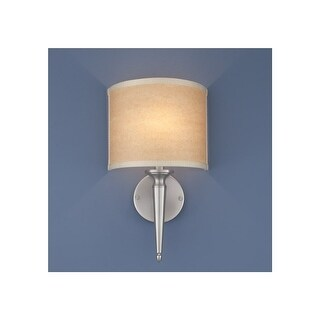 """Norwell Lighting 8213 Georgetown 1-Light 15"""" Tall ADA Compliant Wall Sconce with White Fabric Shade"""