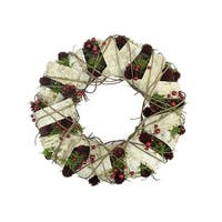 "13"" Natural Twig and Birch Wood Pine Cone Artificial Christmas Wreath - Unlit - brown"