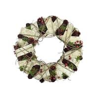"19"" Natural Twig and Birch Wood Pine Cone Artificial Christmas Wreath - Unlit - brown"