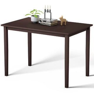 Gymax Modern Rectangle Dining Table Wooden Legs Kitchen Living Room Furniture Espresso