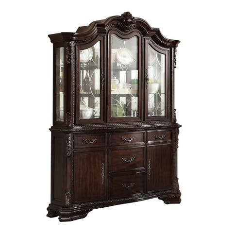 38 Inch 5 Drawer Wooden Buffet with 2 Doors, Brown