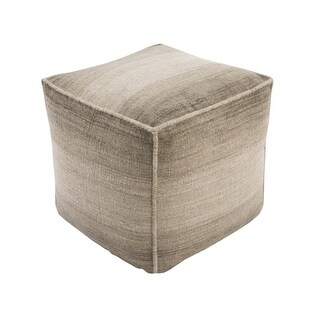 "18"" Ombre Ambience Coyote Brown, Eggshell and Otter Brown Wool Square Pouf Ottoman"