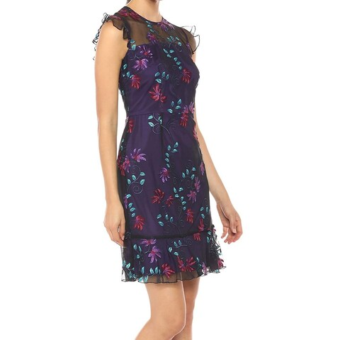 Donna Morgan Purple Womens Size 12 Floral Embroidered A-Line Dress