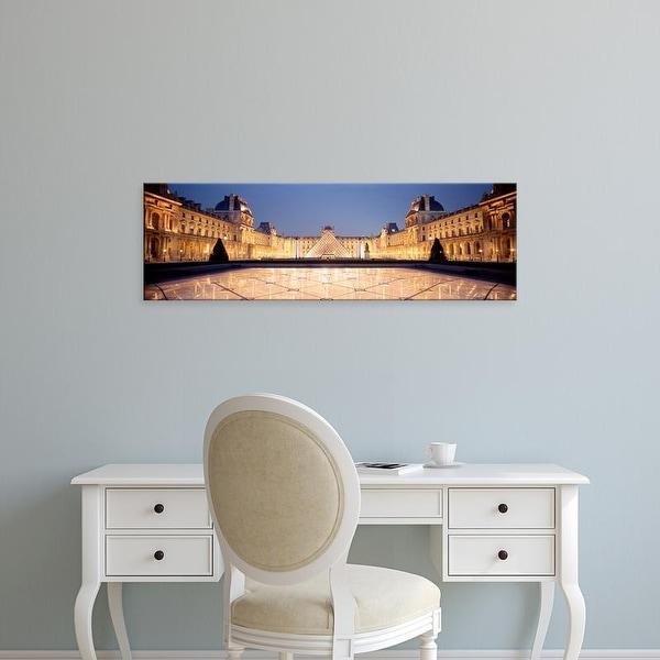 Easy Art Prints Panoramic Images's 'Light Illuminated In The Museum, Louvre Pyramid, Paris, France' Premium Canvas Art