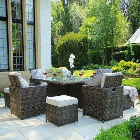 Cubo Outdoor Garden Wicker 9-piece Patio Dining Table Set