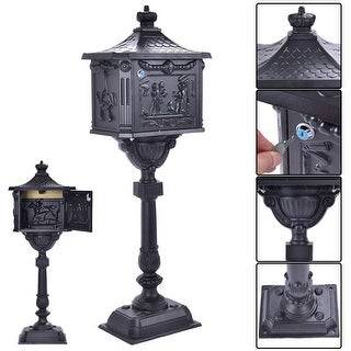 Costway Mail Box Heavy Duty Mailbox Postal Box Security Cast Aluminum Vertical Pedestal