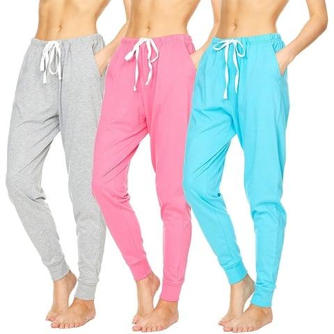 Essential Elements 3 Pack: Women's 100% Cotton Active Gym Lounge Sleep Pajama Jogger Sweatpants