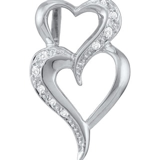 Twin Heart Pendant 10K White-gold With Diamonds 0.03 Ctw By MidwestJewellery - White