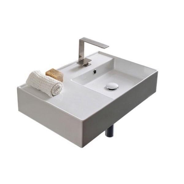 "Nameeks Scarabeo 5117 Scarabeo Teorema 2.0 24"" Rectangular Ceramic Vessel or Wall Mounted Bathroom Sink with Overflow"