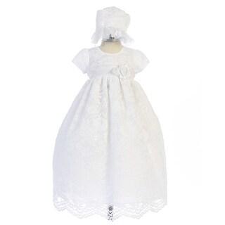 Crayon Kids Baby Girls White Lace Floral Long Baptism Dress Bonnet Set 3-9M