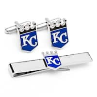 Kansas City Royals Cufflinks and Tie Bar Gift Set - Silver