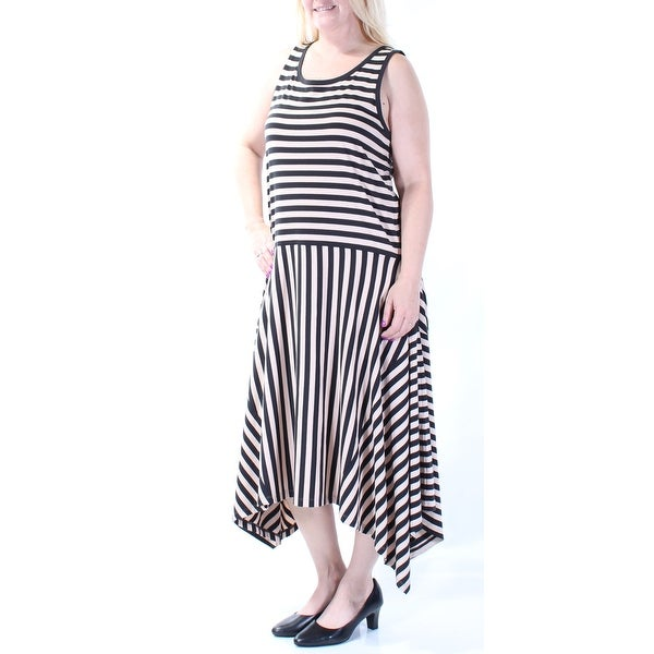 acf60a61cd Shop DKNY Womens Beige Striped Sleeveless Scoop Neck Maxi Trapeze Dress  Size  L - On Sale - Free Shipping On Orders Over  45 - Overstock - 23452133
