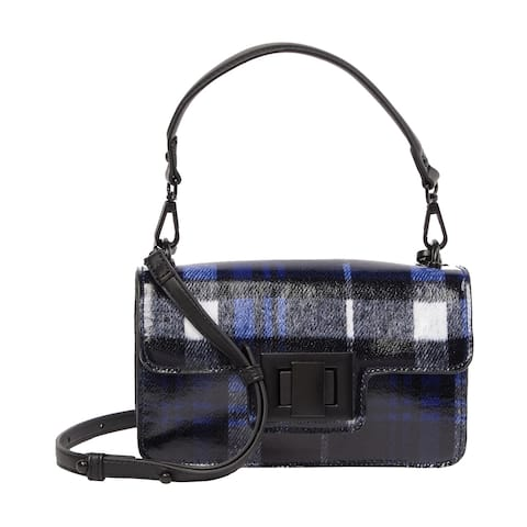 Steve Madden Womens Brit Plaid Crossbody Bag Blue/Black