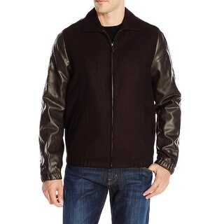 Perry Ellis NEW Red Mens Size Large L Wool Faux- Leather Trim Jacket